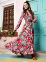 Janasya Women's Pink Rayon Ethnic Dress(J0166)