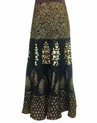 Jaipur Kurti Women Black Ethnic Motifs Straight Cotton Skirt