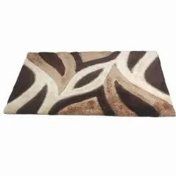 For Home WHITE AND BROWN 5X7 Feet Fancy Shaggy Carpet