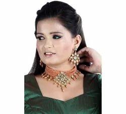 Orange Brass Artificial Fashionable Necklace Set, Party