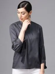 Grey Solid Tie Up Sleeve Tunic Top