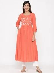 Jaipur Kurti Women Coral Embroidered A-line Yarn Dyed Kurta With Pant