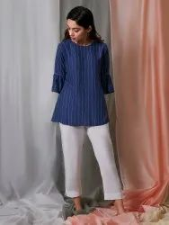 Janasya Women's Blue Rayon Top(J0190)