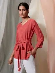 Janasya Women's Red Rayon Top(J0189)