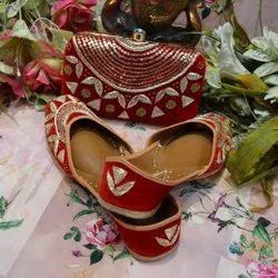 Bridal Fancy Punjabi Jutti With Matching Clutch