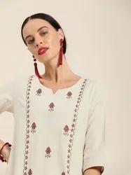 Jaipur Kurti Off White Embroidered Cotton Flex A Line Kurta