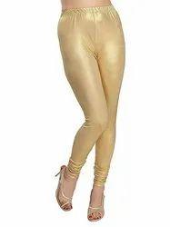 Satin Lycra Golden Ladies Shining Shimmer Legging, Size: XXXL