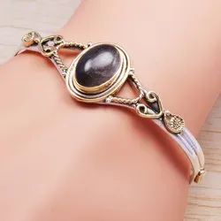 Black Rutile Gemstone 925 Sterling Silver And Brass New Design Jewelry Bangle Wb-5888