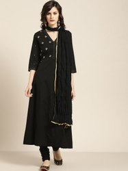 Jaipur Kurti Black Embroidered Anarkali With Churidar & Dupatta