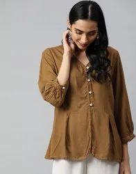 Women Light Brown Solid A-Line Viscose Top