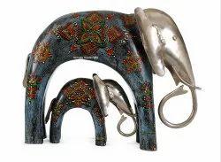 Wooden & Iron Craft Elephant Family Set Of 2 Enamel Work Decorative Showpiece