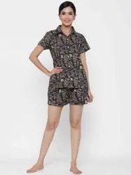 Jaipur Kurti Women Black Quirky Print Straight Cotton Sleepwear