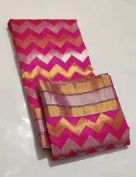 Wedding Wear Printed Pink Pattu Silk Saree, With Blouse Piece, 6.5 Meter