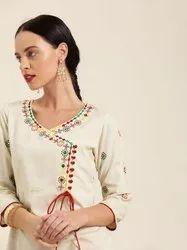 Jaipur Kurti Off White Embroidered A Line Kurta
