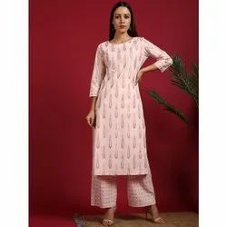 Janasya Women's Pink Cotton Kurta With Palazzo (Set233)