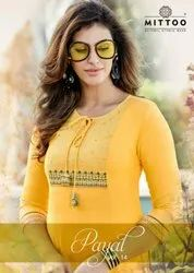 Mittoo Payal Vol 14 Rayon With Work Fancy Designer Kurti Catalog
