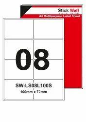 A4 LABEL SHEET LS008L ( 100mm X 72mm ) STICKWELL