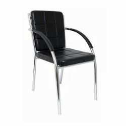 Leather Stainless Steel Chair, Black