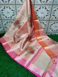 Banarasi Tissue Silk Printed Pallu Fancy Border Designer Saree