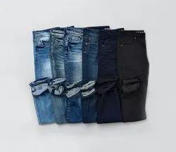 Plain Regular Fit Mens Blue And Black Denim Jeans, Waist Size: 28-38