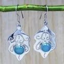 925 Sterling Silver Blue Chalcedony Gemstone Stylish Handmade Earring