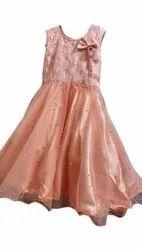 Peach Net Girls Designer Dress