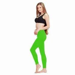 Plain Ladies Green Satin Lycra Legging, Size: XXXL