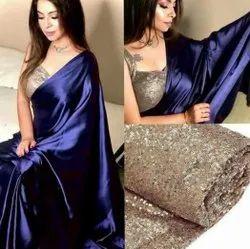 9 Colours Party Wear Plain Sarees, 5.5 m (separate blouse piece)