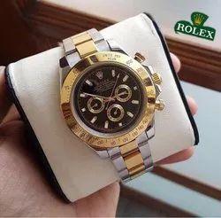 Analog Casual Wear Rolex Daytona Automatic Silver Gold Black Dial Men's Watch