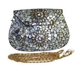 RAINBOW Clutch NK HANDMADE MOTHER OF PEARL SHELL MOSAIC BAG, Size: 19X4X13
