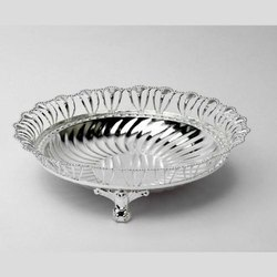 Carved Swirl Design Wired Trove Silver Bowl (Medium)