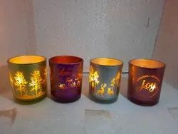 Festive Reflective Glass Candle Holders