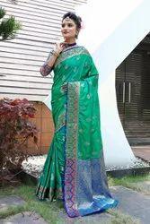 Soft Silk Banarasi Festive Wear Saree, 5.5 m (Separate Blouse Piece)