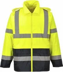 Yellow High Visibility Water Resistant 100% Polyester Rain Jacket