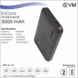 EVM Power Bank 5000 MAH Black