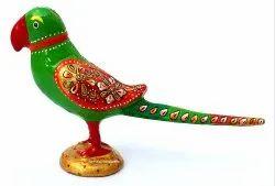 Metal Meenakari Handicrafts Enamel Work Parrot Statue Decorative Showpiece