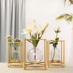 Transparent Plain Glass Decorative Flower Vase Set, For Decoration