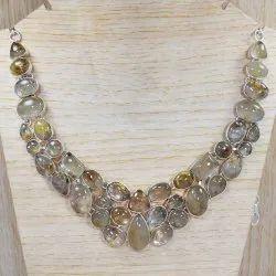925 Sterling Silver Golden Rutile Necklace SJWN-11