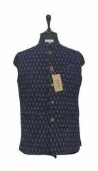 Blue Printed Men Nehru Sleeveless Jackets