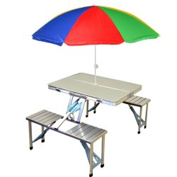 Aluminium Portable Folding Picnic Table With Umbrella