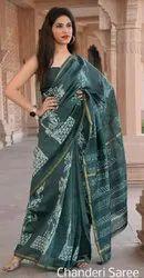 Bagru Hast Kala Printers Wedding Wear Dabu Print Chanderi Silk Sarees, 5.2 M (separate Blouse Piece)