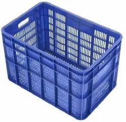 Plastic Blue Rectangular Banana Crates, Capacity: 48 Ltr, Size: L540XW390XH345