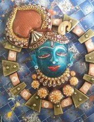 Brass Round Srinath ji LED Wall Decor, For Decoration, Size: 21 X18 Inch