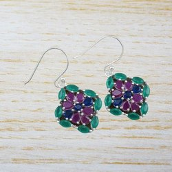 925 Sterling Silver Jewelry Ruby And Multi Gemstone Earring