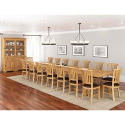 Furniture BoutiQ Cariboo Rustic Reclaimed Teak Wood 18 Piece Dining Room Set