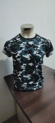 Half Sleeves Cotton Men Army Printed T Shirt