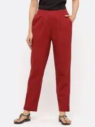 Jaipur Kurti Women Maroon Solid Cotton Slub Pants
