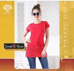 Ladies Designer Printed Cotton Long Top