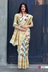 ANK Enterprise 10 Color Jamadani Silk with Minakari Weaving Saree, 5.5 m (separate blouse piece)