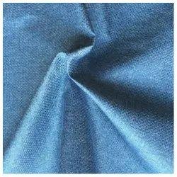 Blue Plain Polyester Melange Fabric